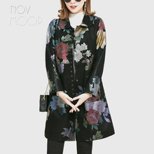 Novmoop 2019 autumn winter retro floral print sheepskin genuine leather jacket women slim long coat chaqueta mujer LT2841