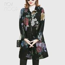 Novmoop 2019 outono inverno retro floral impressão de pele carneiro genuíno jaqueta de couro feminino fino longo casaco chaqueta mujer lt2841
