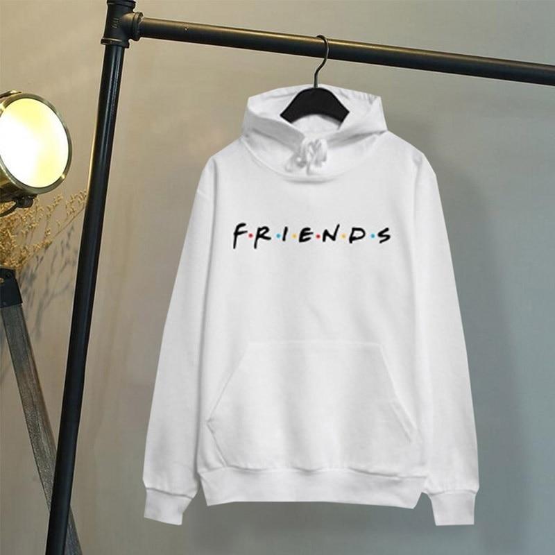 Women Friends Hoodies Harajuku Letters Print Pocket Warm Thicken Pullovers Hip Hop Loose Solid Female Sweatshirts