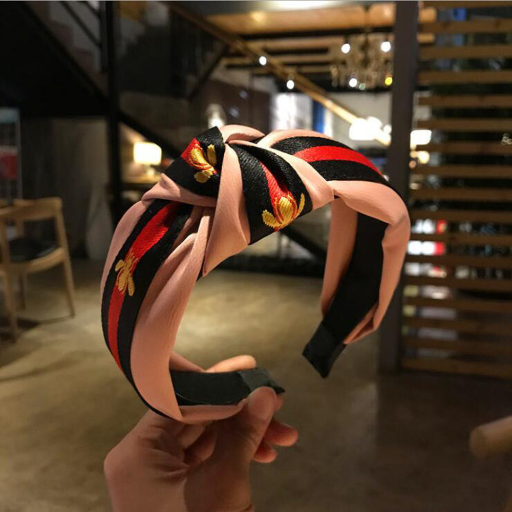 Women Knotted Headband College Style Bronzing Sequins Flower Mesh Yarn Striped Hair Band Wide Side Hairpin Sports Headbands