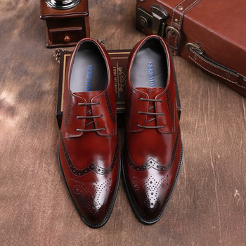 Retro Bullock Genuine Leather Men Business Formal Shoes Classic Pointed Toe Lace Up Men Oxford Dress Wedding Party Shoes B57
