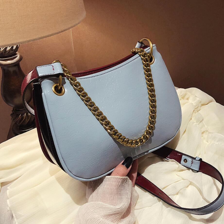 Contrast Color Chain Tote Bag 2020 Fashion New High Quality PU Leather Women's Designer Handbag Casual Shoulder Messenger Bag