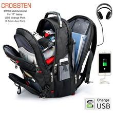Crossten עמיד 17 אינץ מחשב נייד תרמיל, 45L נסיעות תיק, מכללת תיק של, USB טעינת נמל, מים עמיד, שוויצרי רב תכליתי