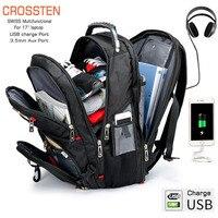 "Crossten suíço multifuncional à prova dwaterproof água mochila para portátil 17.3 ""portátil porta de carga usb mochila grande capacidade|backpack quality|quality backpacks|backpack for -"