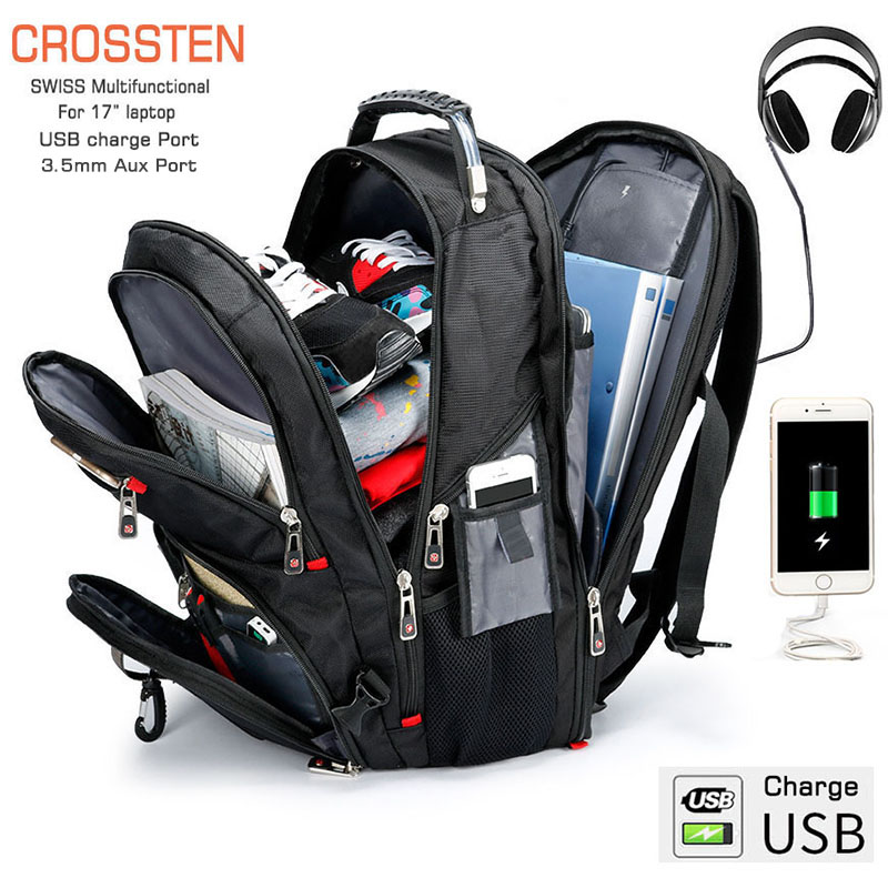 Crossten Laptop Backpack Mochila Schoolbag Usb-Charge Swiss Multifunctional Large-Capacity title=