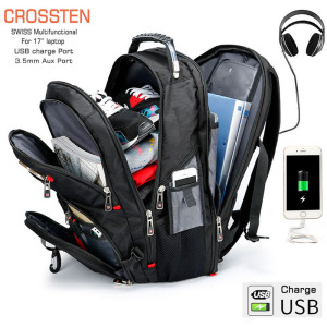 "Crossten Swiss Multifunctional Waterproof Laptop Backpack for 17.3"" laptop USB Charge Port Schoolbag Large Capacity Mochila(China)"