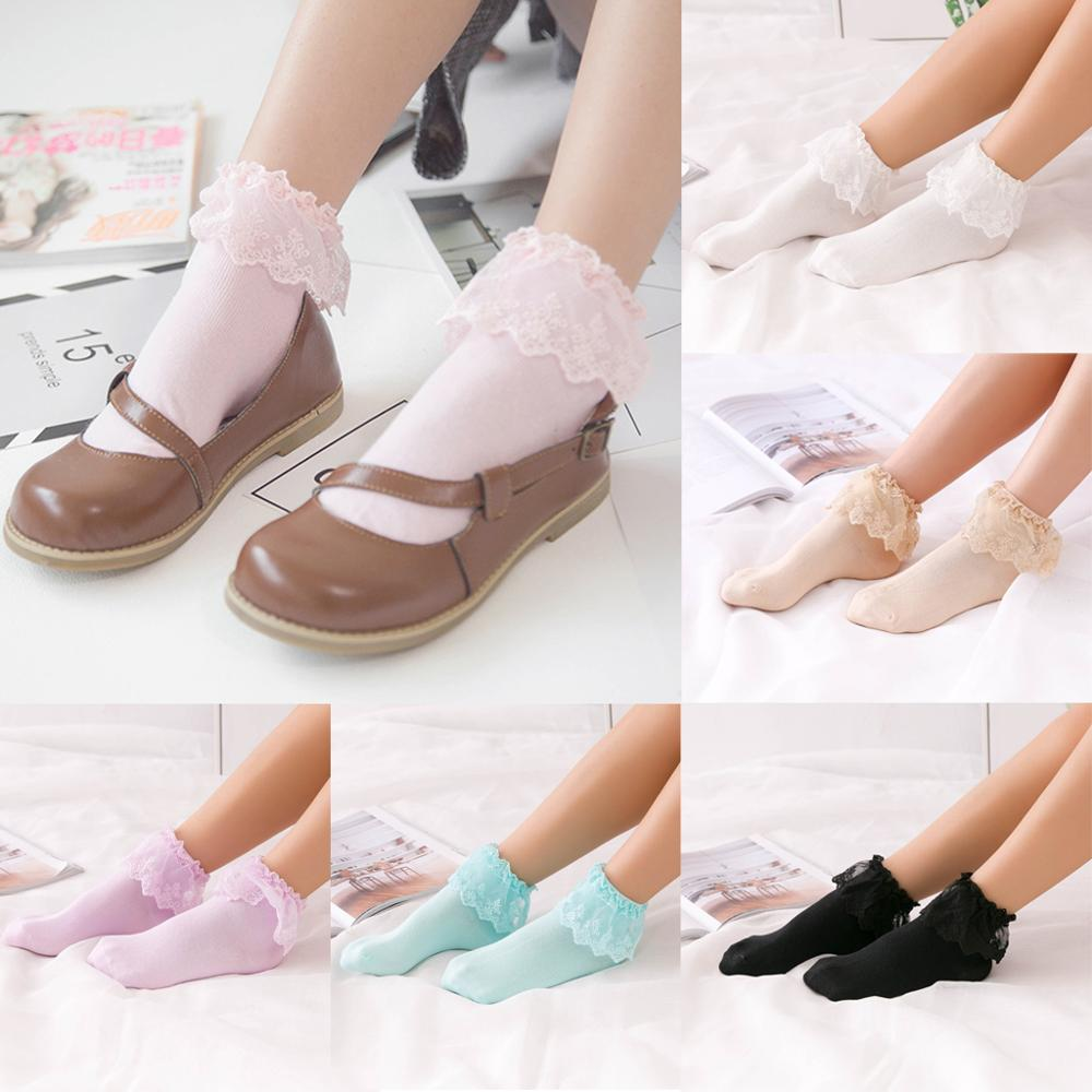 2019 Lovely Happy Harajuku Tobillo Calcetines de mujer Short Warm Cotton Vintage Lace Ruffle Frilly Ladies Princess Girl White Socks