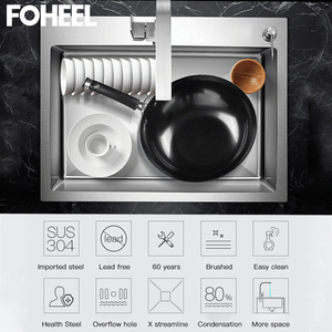 Image 5 - FOHEEL נירוסטה מטבח כיור חריץ צלחת אגן מטבח כיור ניקוז סל וניקוז Pip מלבני