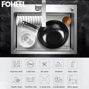 Image 5 - FOHEEL Stainless Steel Kitchen Sink  Slot Dish Basin Kitchen Sink Drain Basket And Drain Pip Rectangular