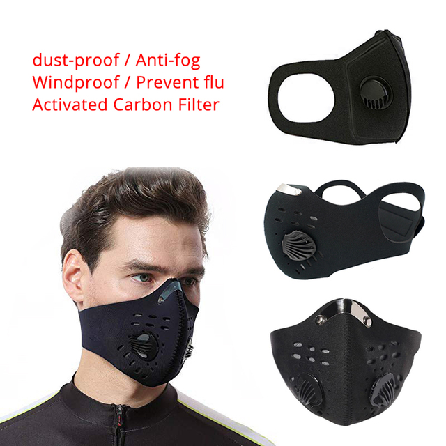 Activated Carbon Filter Masks Double Air Valve Reusable Cycling Face Mask PM2.5 Anti-fog Windproof Prevent Flu Masks
