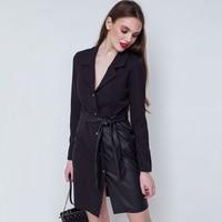 Женское винтажное полиуретановое платье трапециевидной формы на пуговицах спереди с поясом, элегантное мини-платье с длинным рукавом и v-об...