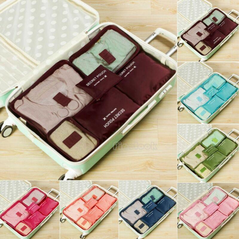 2020 New 6pcs Travel Waterproof Organizer Bag Clothes Pouch Portable Storage Case Luggage Suitcase Storage bag Fashion