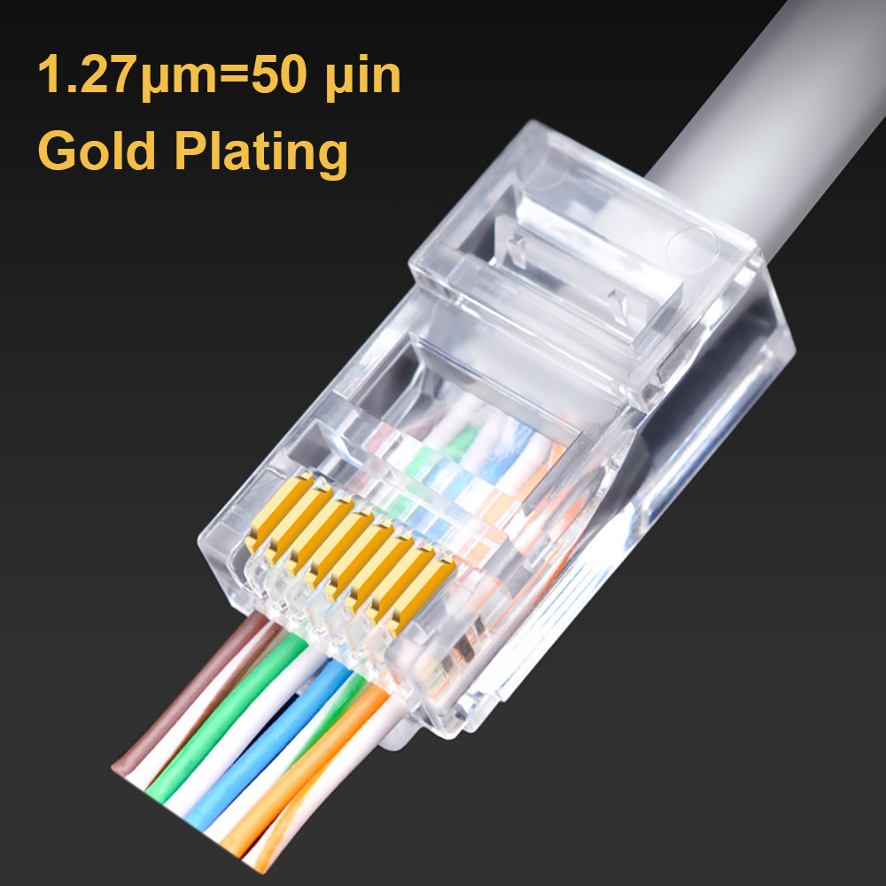 OULLX 50U RJ45 Connector Cat6 UTP Gold Plated Pass Through Ethernet Cables Network RJ-45 Crystal Heads Cat5 Cat5e 20/50/100pcs