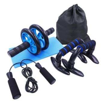 5 in 1 Abdominal Roller Wheel 8 Shape Resistance Band Resistance Loop Band Jump Rope and Push-Ups Stands Home Gym Fitness Set