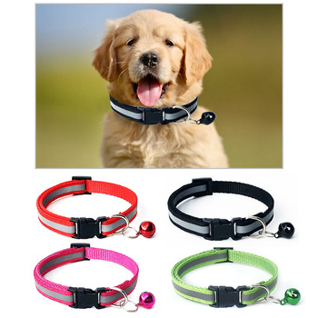 Nylon Pet Collar Adjustable Dog Collars Pet Adjustable Puppy Cat Neck Strap Reflective Bell Collar For Small Medium Dogs Cats image
