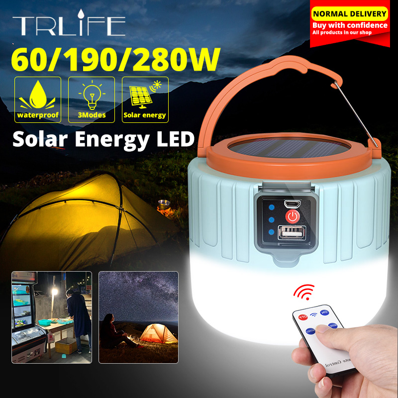 280W Solar Tent Light Camping Outdoor LED Bulb Lights Portable Lantern Home Night USB Rechargeable Emergency Light 190W 60W(China)