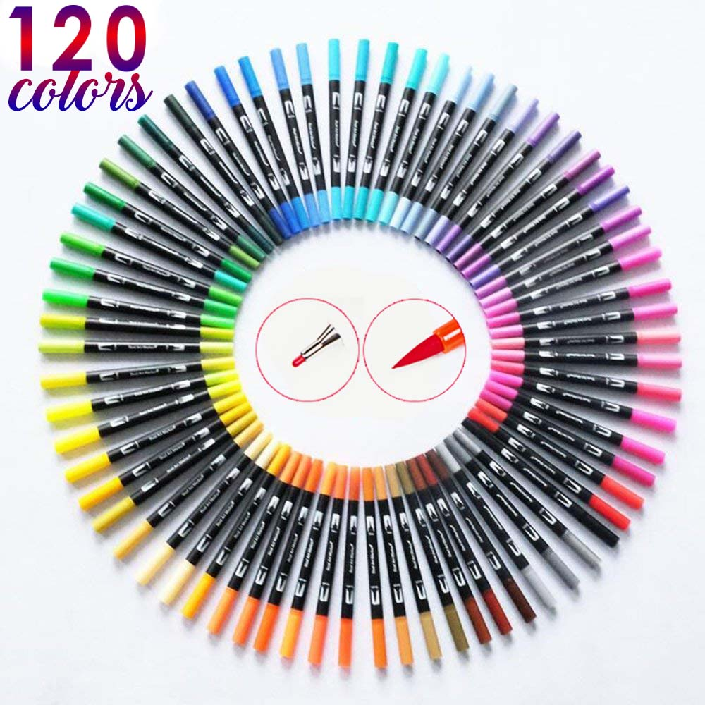 120 Color Dual Brush Art Markers Pen Fine Tip And Brush Tip Great For Bullet Journal Adult Coloring Books Calligraphy Lettering