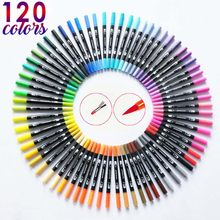 120 Color Dual Brush Art Markers Pen Fine Tip and Brush Tip Great for Bullet Journal Adult Coloring Books Calligraphy Lettering(China)