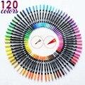 120 cor dupla escova arte marcadores caneta ponta fina e ponta da escova ótimo para adultos livros para colorir caligrafia lettering arte suprimentos