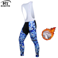 KIDITOKT Long Cycling Pants Winter Thermal Fleece 3D Gel Pad Windproof Bike Warm Trousers Pro Team sports Bicycle Jerseys