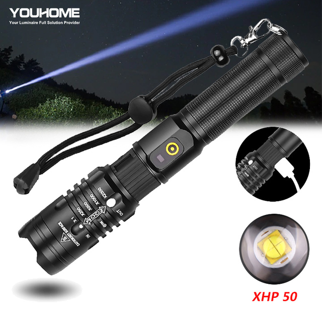 Super Powerful LED Flashlight XHP50 Zoomable Handlamp Waterproof torch USB rechargeable Ultra Bright Lantern for camping hunting 1