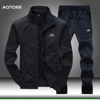 Men Tracksuit Set Polyester Sweatshirt 2020 Spring Sporting Fleece  Jacket + Pants Casual Men's Sports Suit Men's Sportswear 4XL 1