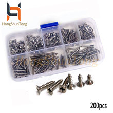 200Pcs M3 304 Stainless Steel Flat Head Screws High strength Self-Tapping Phillip set Assortment Set For Wood Furniture