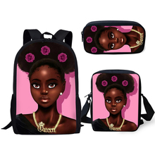 HaoYun Primary Students School Backpacks Set Black African Girl Pattern Kids Bags Afro Arts Design 3PCs/Set Book