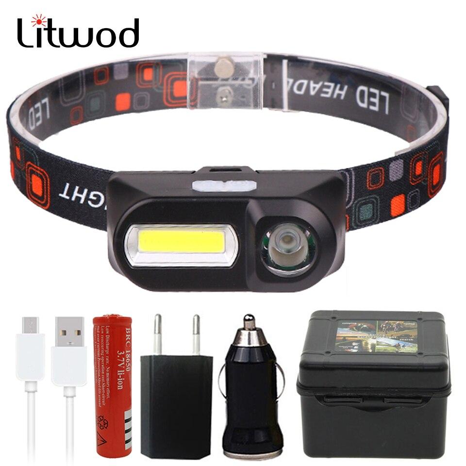 Z94 Mini COB LED Headlight Headlamp Head Lamp Flashlight USB Rechargeable 18650 Torch Night Running Headlights Light