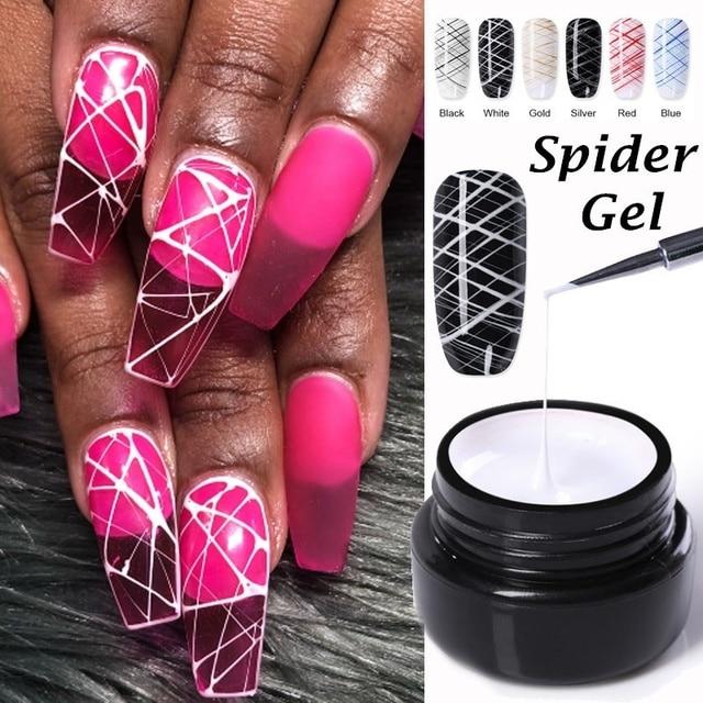 1 Pcs Spider Gel Nail Polish LED UV Gel Cheap For Nail Soak Off Nails Gel Lacquer Glitter 8ML Nude Red Hybrid Nail Polish Gel
