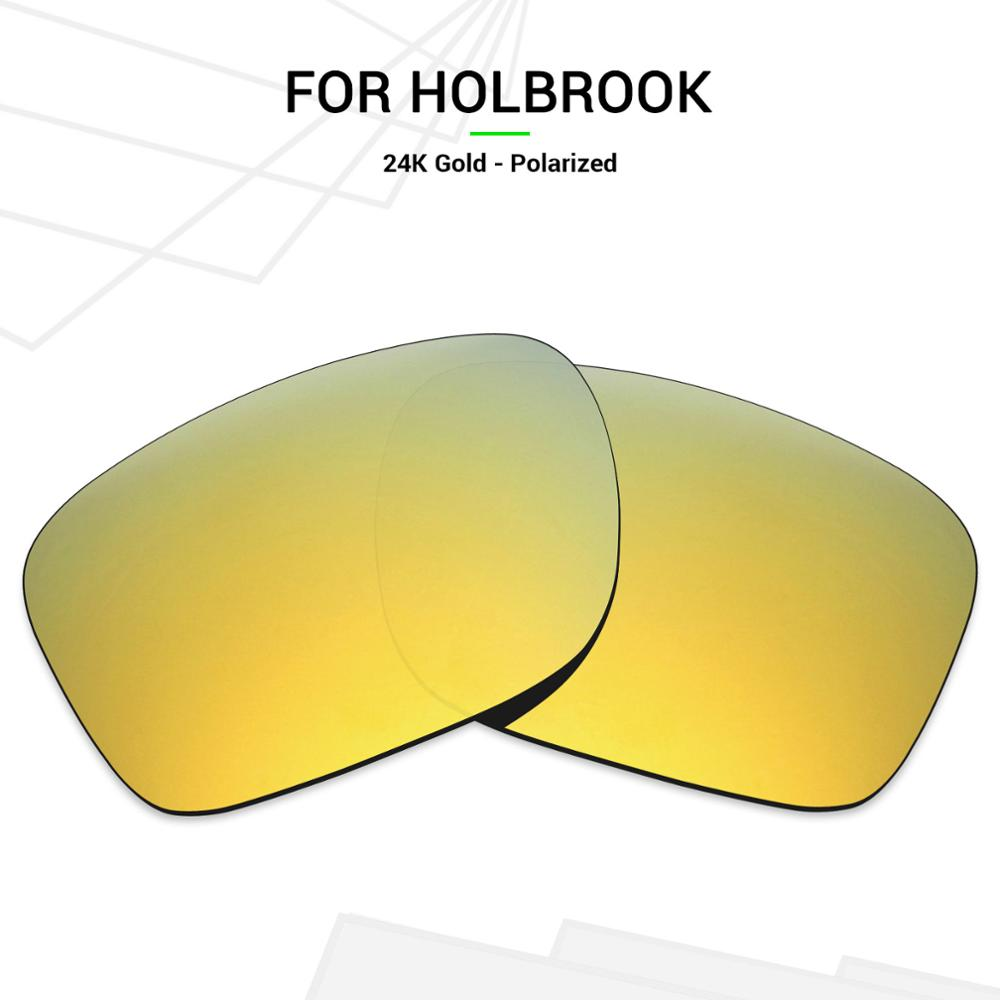 Mryok Anti-Scratch POLARIZED Replacement Lenses for-Oakley Holbrook Sunglasses 24K Gold