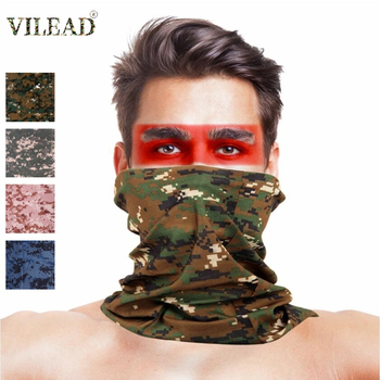 VILEAD Camouflage Outdoor Hiking Scarf Face Masks Dust Mask Cycling Headwear Sports Scarves Bandanas for Camping Magic Scarf