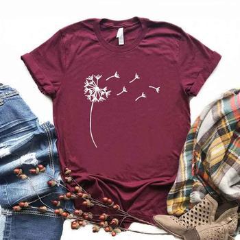 Camiseta de algodón para mujer con estampado de diente de león y flor salvaje camiseta divertida Casual regalo para señora Yong Girl Top Tee 6 colores A-51