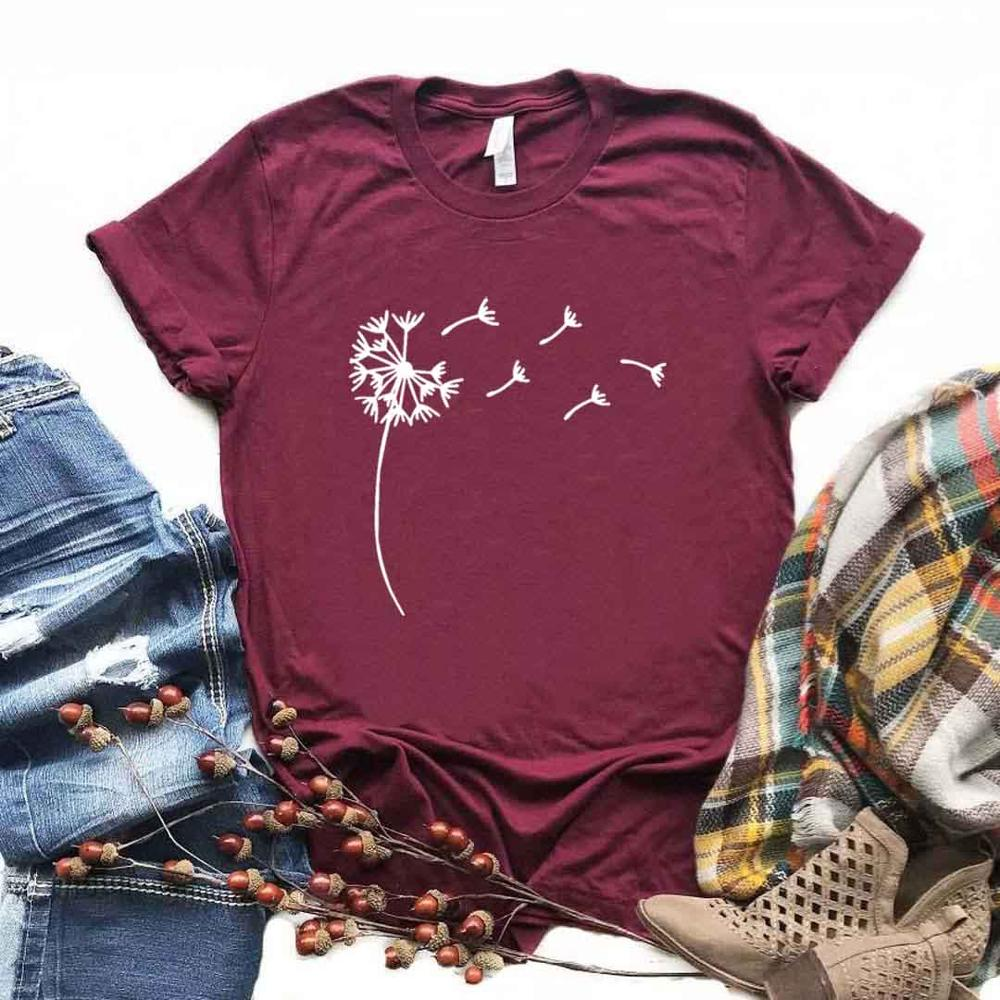 Wildflower Dandelion Print Women Tshirt Cotton Casual Funny T Shirt Gift For Lady Yong Girl Top Tee 6 Color A-51