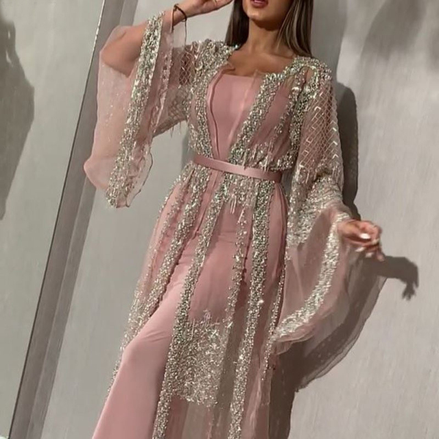 Abaya Dubai Muslim Dress Luxury High Class Sequins Embroidery Lace Ramadan Kaftan Islam Kimono Women Black Maxi Dress 2020