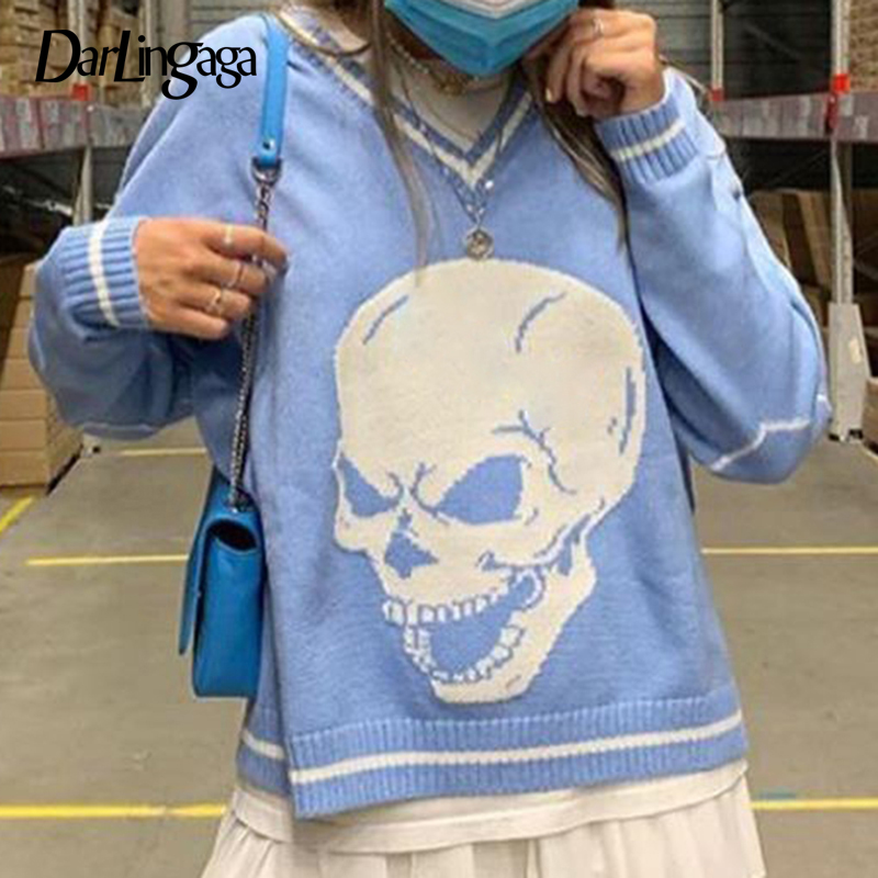 Darlingaga Harajuku Skull Print  Autumn Winter Sweater  2