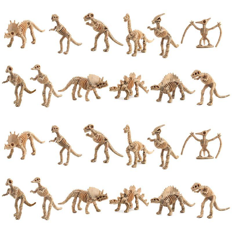 24pcs Dinosaur Petrifaction Skeletons, Assorted Figures Dino Bones, Educational