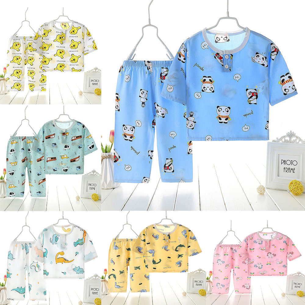 2020 New Summer Children's Cotton Silk Suit Boy Girl Baby Children's Clothing Home Service Air-conditioned Clothing Pajamas