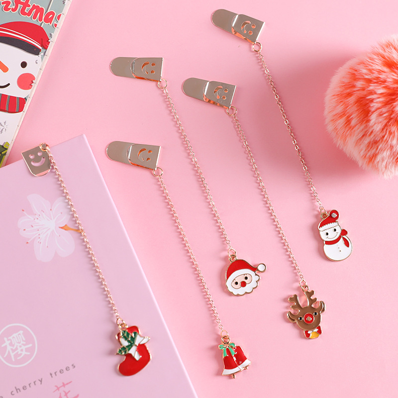 Cute Metal Bookmark Christams Snow Man Cartoon Animal Chain Pendant Bookmarks Stationery For School Office Supply