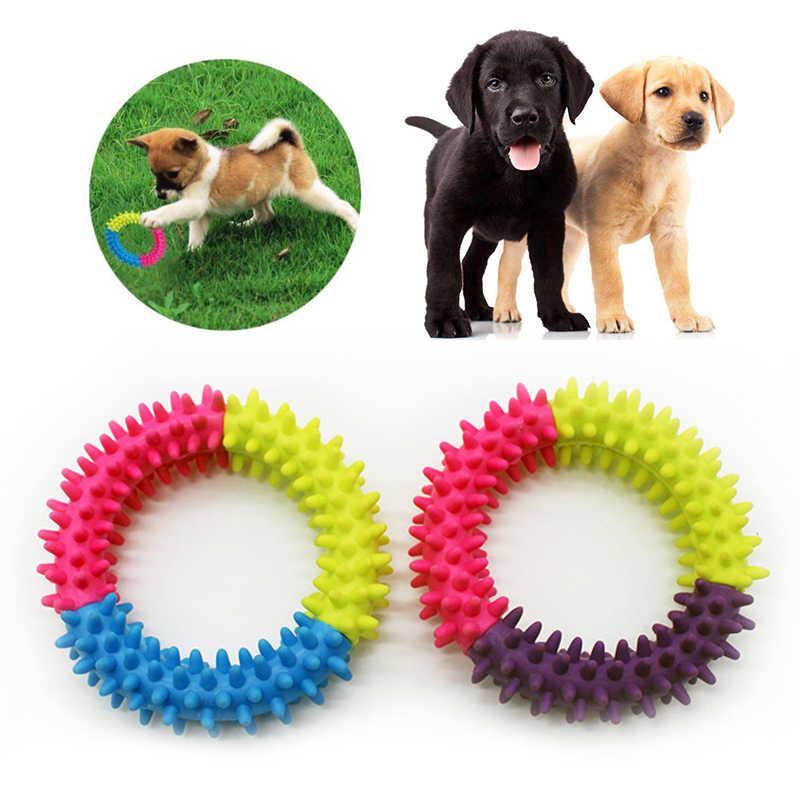 1 szt. Gryzak dla psa zabawka 3 kolor pierścień kształt nietoksyczny miękka guma losowy kolor gryzaki