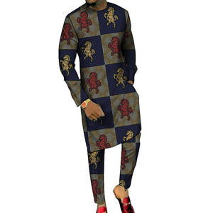 Long-Shirts Pant-Sets Groom-Suits Party-Clothes Dashiki-Print Custom-Made African Plus-Size