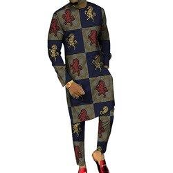 Длинные рубашки и брюки с принтом Дашики, комплекты брюк на заказ, Модные Мужские костюмы жениха, вечерние комплекты в африканском стиле раз...