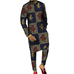 Dashiki طباعة قمصان طويلة مع بنطلون مخصص بانت مجموعات موضة الذكور العريس الدعاوى حجم كبير ملابس للحفلات الأفريقية