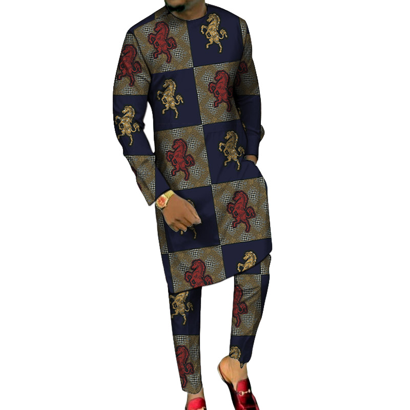 Dashiki Print Long Shirts With Trousers Custom Made Pant Sets Fashion Male Groom Suits Plus Size African Party Clothes