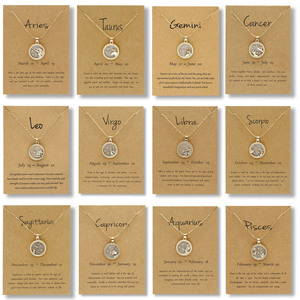 9.5 * 7cm wishing card golden day 12 constellation necklace female alloy round bead chain resin 12 zodiac necklace gift jewelry