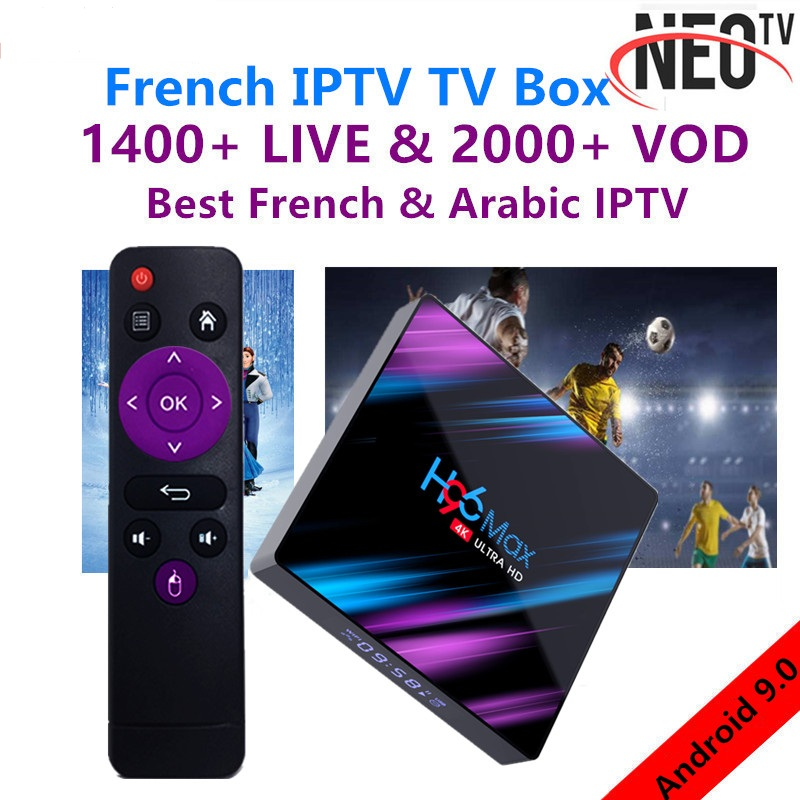 H96 MAX Android 9.0 TV Box PLUS 1 Year NEO Pro French IPTV Subscription 4G Ram 64GB Rom H.265 4K Smart TV Box BT4.0 Set Top Box