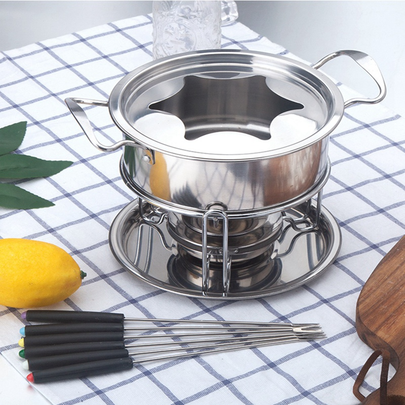 10-Piece Set Multifunctional Stainless Steel Ice Cream Chocolate Cheese Hot Pot Melting Pot Fondue Set Kitchen Accessories