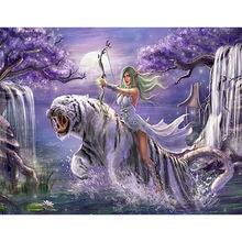 Набор для рисования по номерам на холсте тигр Раскраска «сделай