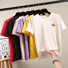Multi-color optional T-shirt red sexy lips print pattern womens t-shirt  summer loose wild short-sleeved round neck Tee