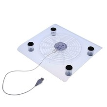 Transparent Large Fan Laptop Cooler USB LED Display Cooler Pad Stand For 15inches Laptop PC Large Cooling Fan(China)